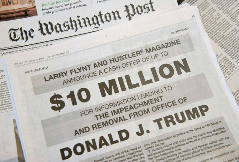 In 2017, Larry Flynt offered $10 million for dirt to help remove US president Donald Trump from office, running a full page ad in The Washington Post