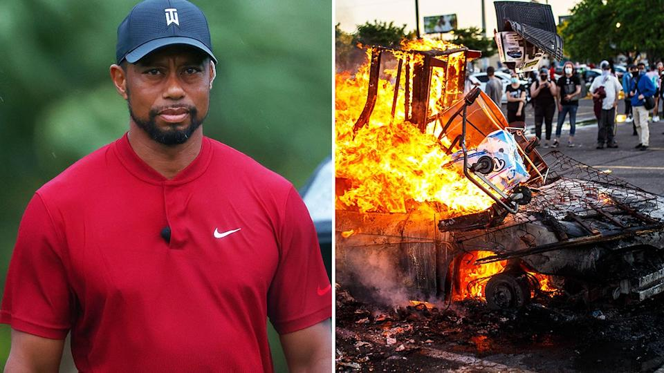 Seen here, Tiger Woods and the scene of a protest over George Floyd's death.