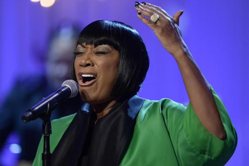 Awkward: Patti LaBelle was pictured in the tribute (Michael Reynolds-Pool/Getty)