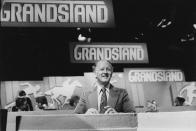 Television presenter Frank Bough pictured on the set of the television show 'Grandstand', September 22nd 1979. (Photo by Don Smith/Radio Times/Getty Images)