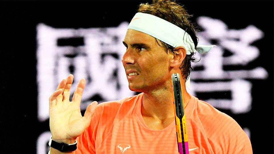 Rafa Nadal (pictured) getting frustrated during the Australian Open.