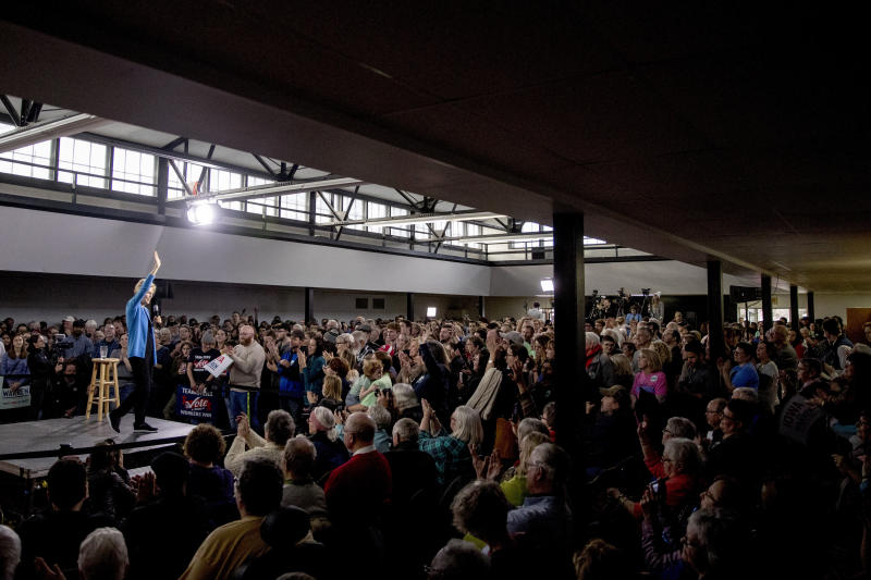 Democratic presidential candidate Sen. Elizabeth Warren, D-Mass., speaks at a campaign stop at the Mississippi Valley Fairgrounds, Sunday, Jan. 5, 2020, in Davenport, Iowa. (AP Photo/Andrew Harnik)