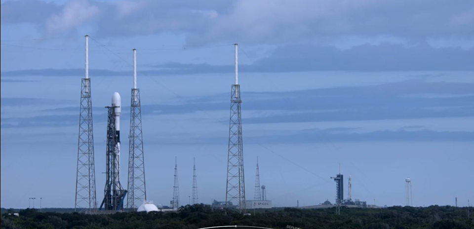 Twin SpaceX Falcon 9 rockets can be seen in this single shot, taken at Kennedy Space Center before the company's latest Starlink launch attempt Oct. 1, 2020, which was scrubbed. SpaceX continues to launch batches of its Starlink satellites, working to build a constellation of satellites to provide internet service here on Earth.