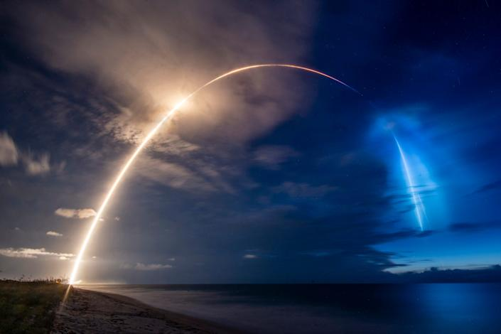 SpaceX's Starlink-8 mission delivered a ninth batch of internet-beaming satellites into orbit on June 13 — while leaving behind a stunning blue-rainbow cloud in the skies over coastal Florida.