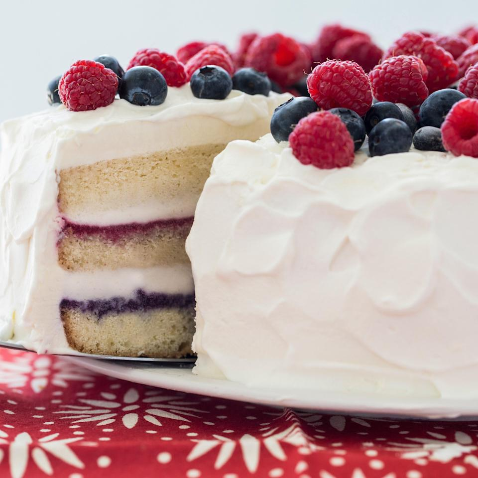 "Filled with layers of vanilla ice cream and berry compote, this whipped cream-frosted cake is great for <a href=""https://www.epicurious.com/recipes-menus/109-best-4th-of-july-recipes-gallery?mbid=synd_yahoo_rss"" rel=""nofollow noopener"" target=""_blank"" data-ylk=""slk:July Fourth"" class=""link rapid-noclick-resp"">July Fourth</a>, but also delicious all summer long. <a href=""https://www.epicurious.com/recipes/food/views/red-white-and-blue-ice-cream-cake-51108000?mbid=synd_yahoo_rss"" rel=""nofollow noopener"" target=""_blank"" data-ylk=""slk:See recipe."" class=""link rapid-noclick-resp"">See recipe.</a>"