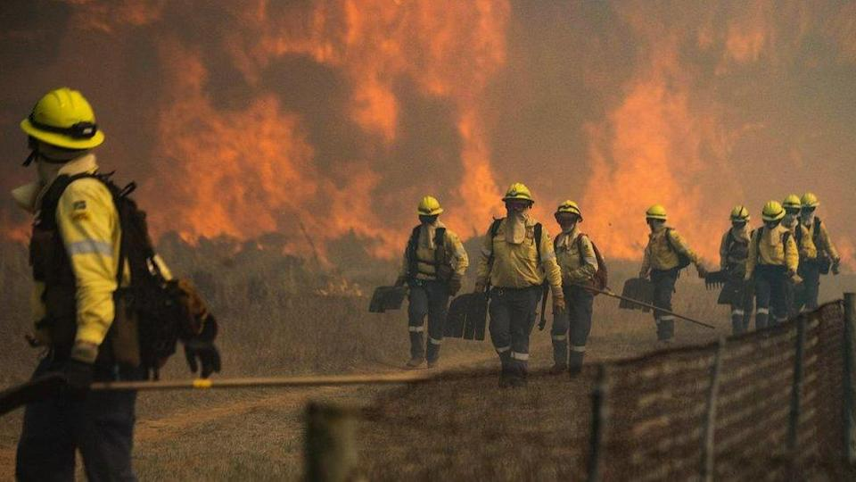 Firefighters leave an area where the flames become too aggressive, as a forest fire burns out of control on the foothills of Table Mountain
