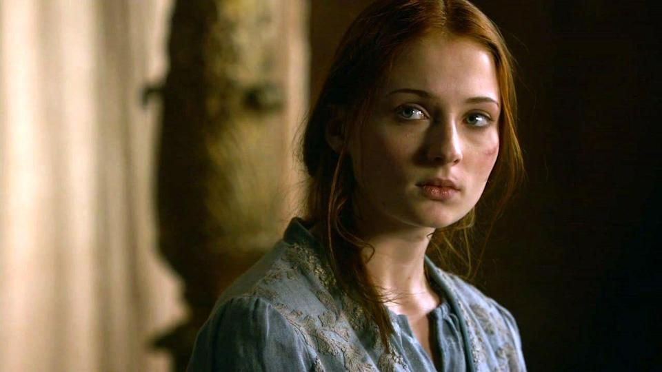 <p>When Sansa gets her period for the first time, she's wearing the same pale blue she favored in Winterfell-a color we won't see her wear again. Goodbye, childhood. </p>
