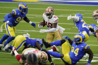 San Francisco 49ers wide receiver Deebo Samuel (19) carries against the Los Angeles Rams during the first half of an NFL football game Sunday, Nov. 29, 2020, in Inglewood, Calif. (AP Photo/Alex Gallardo)