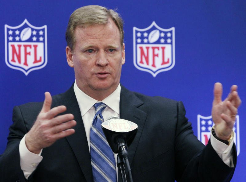 FILE - This June 21, 2011 file photo shows NFL commissioner Roger Goodell speaks during a news conference at the NFL football owners meetings in Rosemont, Ill. NFL Commissioner Roger Goodell has rejected the appeals of coach Sean Payton and other New Orleans Saints officials stemming from the league's probe into the club's bounty system. After hearing from Payton, general manager Mickey Loomis and assistant head coach Joe Vitt last week, Goodell decided Monday, April 9, 2012, to uphold his initial sanctions, which include Payton's suspension for the entire 2012 season. (AP Photo/Nam Y. Huh, File)