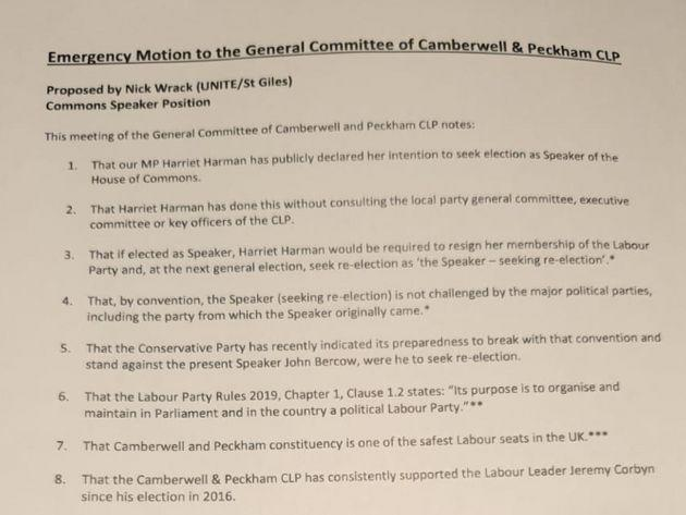 Harriet Harman motion passed by her local party