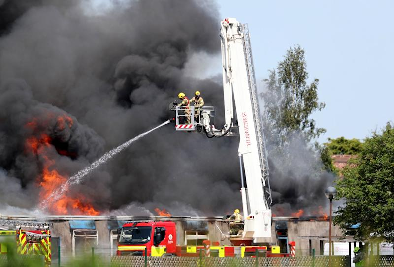 Firefighters tackled the blaze with an aerial ladder (PA)