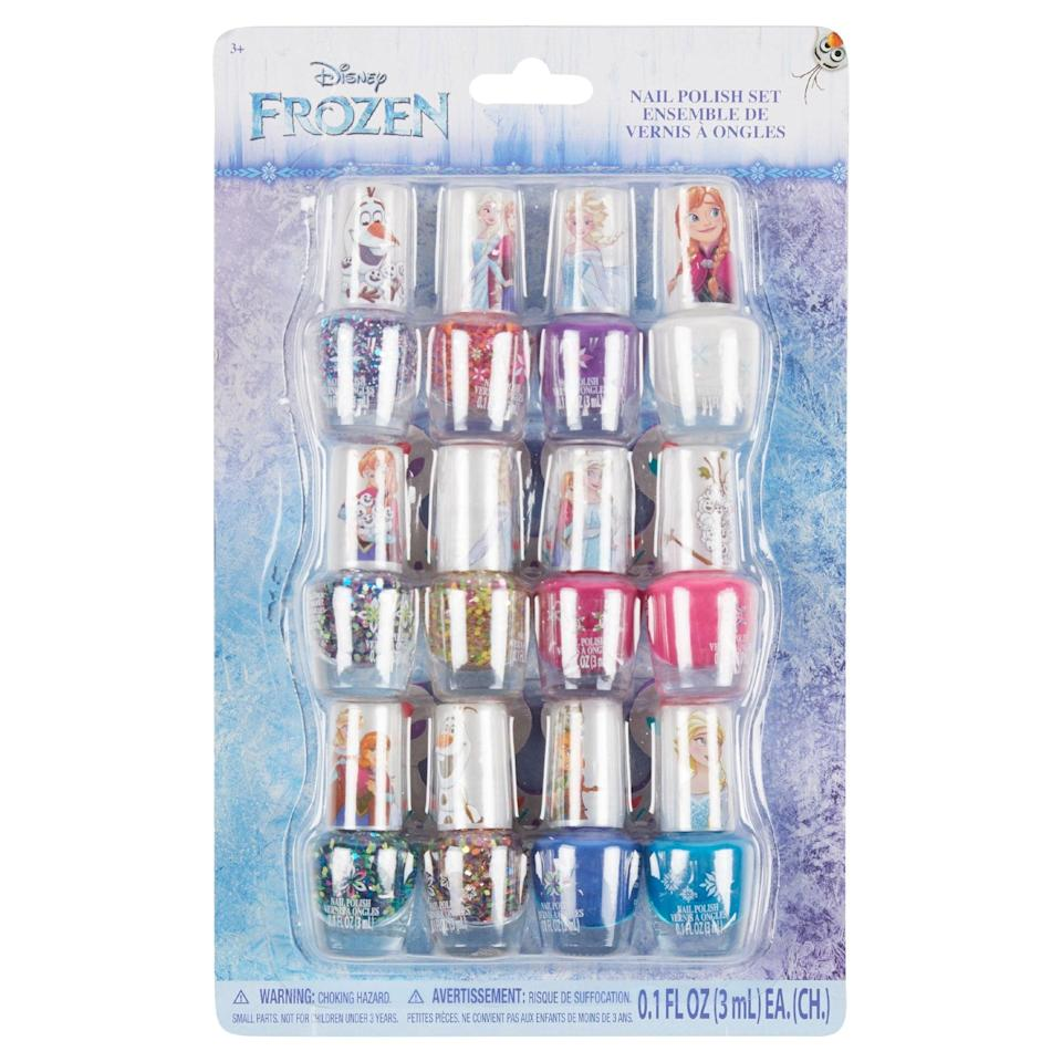 <p>The <span>Frozen 12-Piece Glitter Nail Polish Set</span> ($8) was made for the true nail art-lovers.</p>
