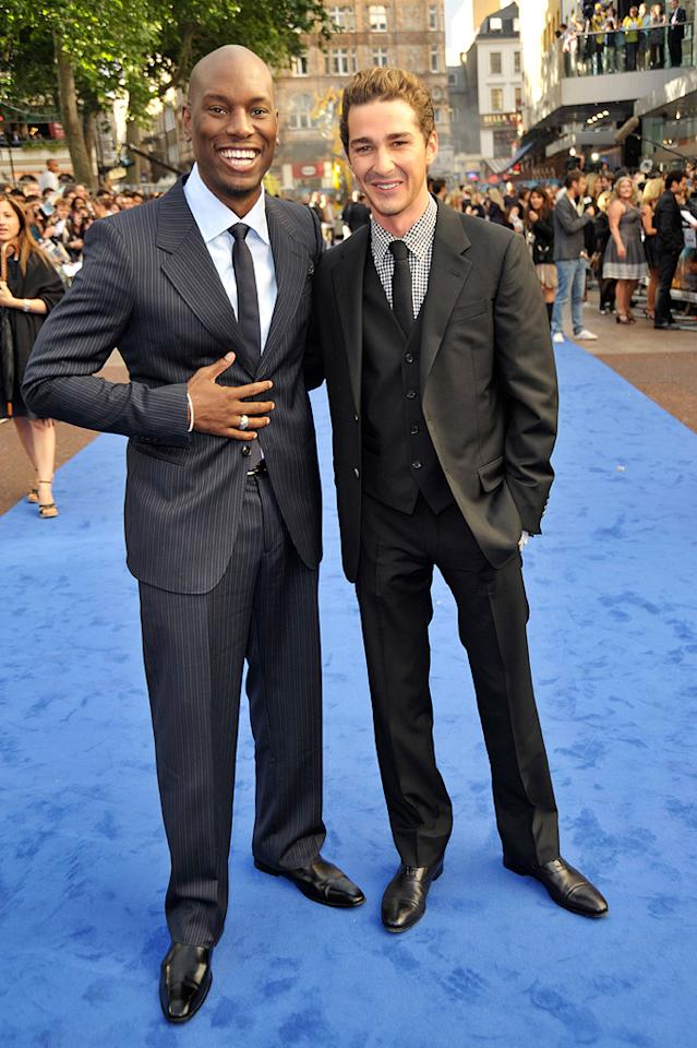 """<a href=""""http://movies.yahoo.com/movie/contributor/1804500453"""">Tyrese Gibson</a> and <a href=""""http://movies.yahoo.com/movie/contributor/1804503925"""">Shia LaBeouf</a> at the London premiere of <a href=""""http://movies.yahoo.com/movie/1809943432/info"""">Transformers: Revenge of the Fallen</a> - 06/15/2009"""