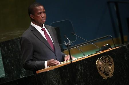 Zambia's President Edgar Lungu speaks at the Nelson Mandela Peace Summit during the 73rd United Nations General Assembly in New York