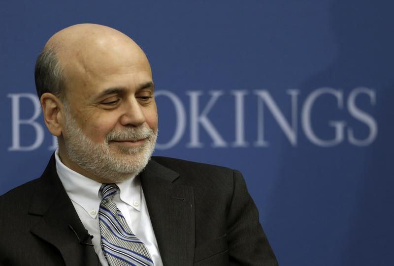 Outgoing US Federal Reserve Board chairman Bernanke appears at Brookings Institution in Washington