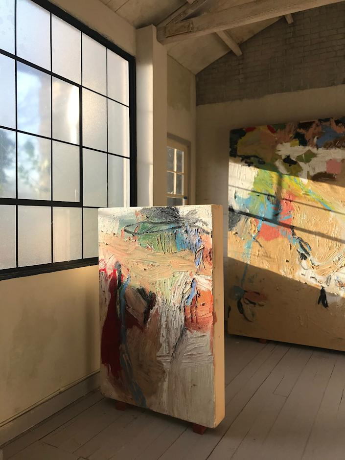 B. Chehayeb's abstract paintings on display in the miniature Shelter in Place Gallery | Courtesy of Shelter In Place Gallery