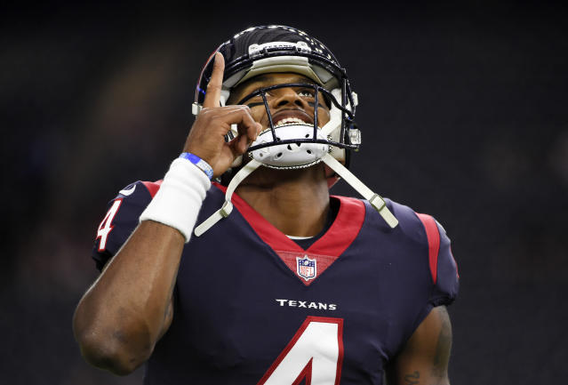 "<a class=""link rapid-noclick-resp"" href=""/nfl/teams/hou/"" data-ylk=""slk:Houston Texans"">Houston Texans</a> rookie quarterback <a class=""link rapid-noclick-resp"" href=""/nfl/players/30125/"" data-ylk=""slk:Deshaun Watson"">Deshaun Watson</a> is on line for another massive performance Sunday against the Browns. (AP Photo/Eric Christian Smith, File)"