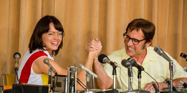 Emma Stone and Steve Carrell in 'Battle of the Sexes'. (Photo: TIFF)