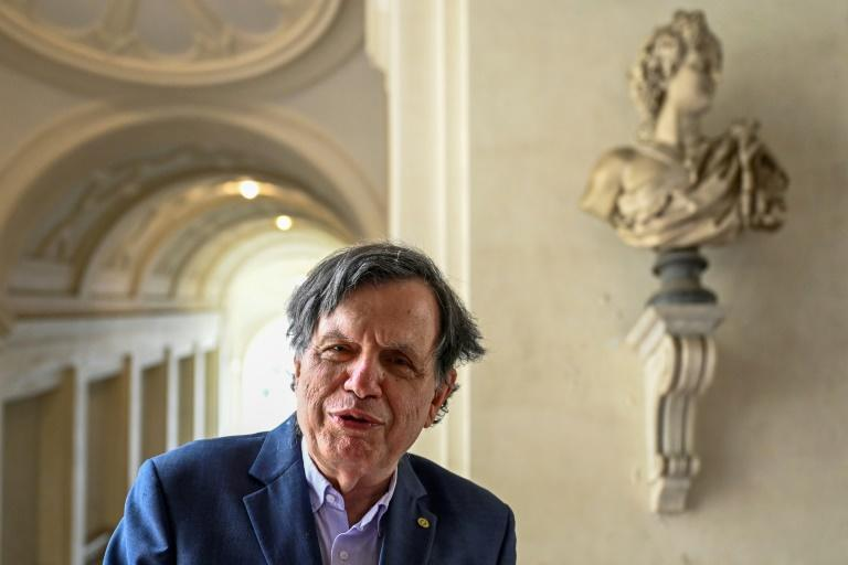 Giorgio Parisi speaking at the Lincean Academy in Rome, after co-winning the Nobel Physics Prize (AFP/Alberto PIZZOLI)