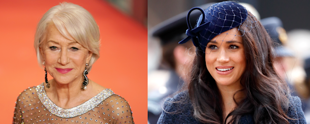 Helen Mirren (L) applauded Meghan Markle (R) for stepping back from the royal family. (Photos: Getty Images)