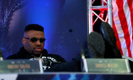Boxing - Anthony Joshua & Jarrell Miller Press Conference - Hilton London Syon Park, London, Britain - February 25, 2019 Jarrell Miller during the press conference Action Images via Reuters/Andrew Couldridge