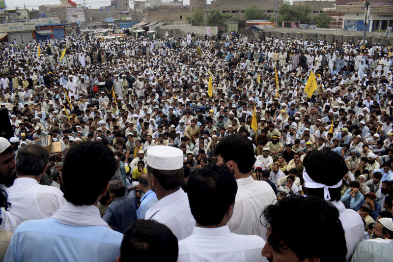 Supporters of Pakistani independent political candidate who lost his seat, gathered to protest against Pakistan Election Commission demanding recounting of votes, in Bannu, Pakistan, Friday, July 27, 2018. A group that monitors elections has urged Pakistan's elections oversight body to address concerns of the country's political parties. (AP Photo/Abdul Haseeb)