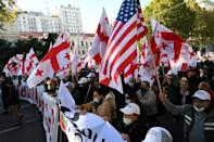 Georgians protest in the capital Tbilisi against the ruling party led by billionaire ex-prime minister Bidzina Ivanishvili which won the October 31 polls with a two-percent margin. It denies accusations of electoral fraud.