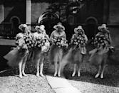 <p>These delicately-layered dresses strike a lovely note for the festivities, especially when paired with bountiful blooms and hats made of a similarly dainty material. A couple of savvy bridesmaids thought ahead to possibly wardrobe malfunctions by wearing what appears to be tights.</p>