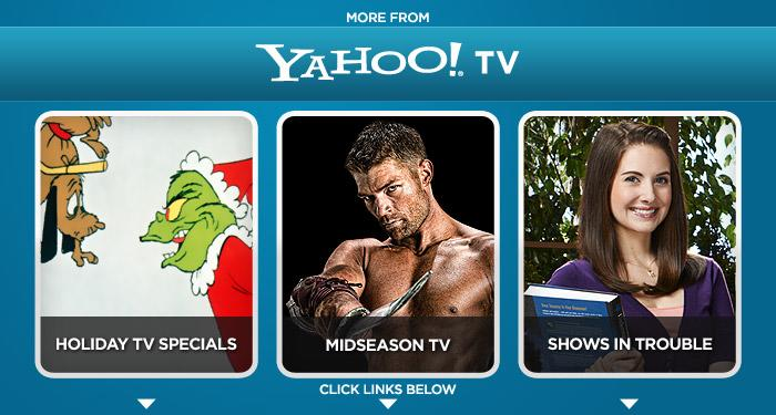 """<a href=""""http://yhoo.it/rMz9yT"""" rel=""""nofollow"""">Guide to Holiday TV</a>    <a href=""""http://yhoo.it/sPwxo3"""" rel=""""nofollow"""">New Winter Shows</a>     <a href=""""http://yhoo.it/rO4Z7C"""" rel=""""nofollow"""">Who's in Danger?</a>"""
