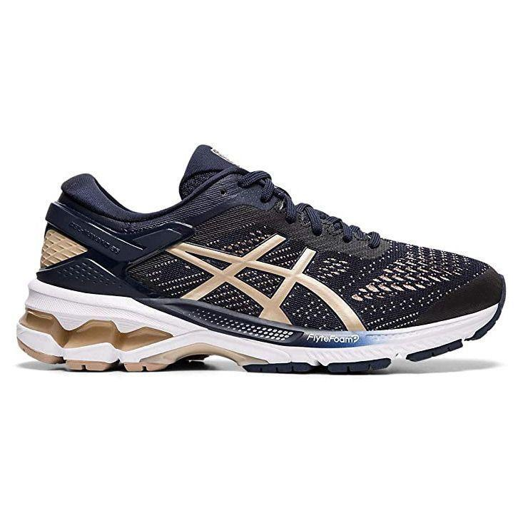 """<p><strong>ASICS</strong></p><p>amazon.com</p><p><strong>$119.95</strong></p><p><a href=""""https://www.amazon.com/dp/B07KKJF617?tag=syn-yahoo-20&ascsubtag=%5Bartid%7C10055.g.32379201%5Bsrc%7Cyahoo-us"""" rel=""""nofollow noopener"""" target=""""_blank"""" data-ylk=""""slk:Shop Now"""" class=""""link rapid-noclick-resp"""">Shop Now</a></p><p>Arch support helps those with flat feet have more stability to prevent strain. ASICS Gel Kayano running shoes are designed for those with flat feet and overprotonators. Overprotonation means when running, your big toe tends to do most of the work causing foot pain. These sneakers <strong>spread the impact across your whole foot and have firmer foam the prevent the foot from rolling inward excessively</strong>. With FyteFoam cushioning, the midsole has soft cushioning and shock absorbing gel for a smooth run. </p>"""