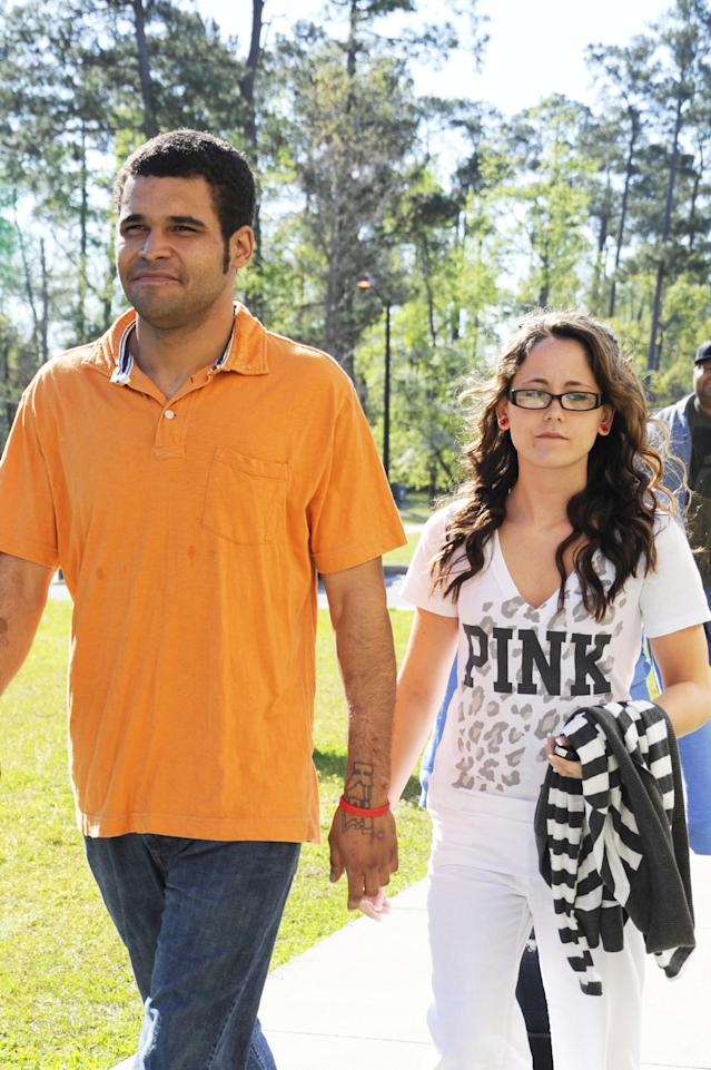 Jenelle Evans and Kieffer Delp photographed leaving court in North Carolina in 2011. (Photo: Splash News)