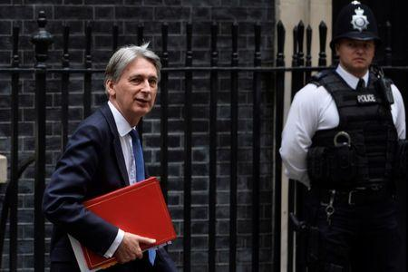 Britain's Finance Minister Philip Hammond leaves 10 Downing Street, London