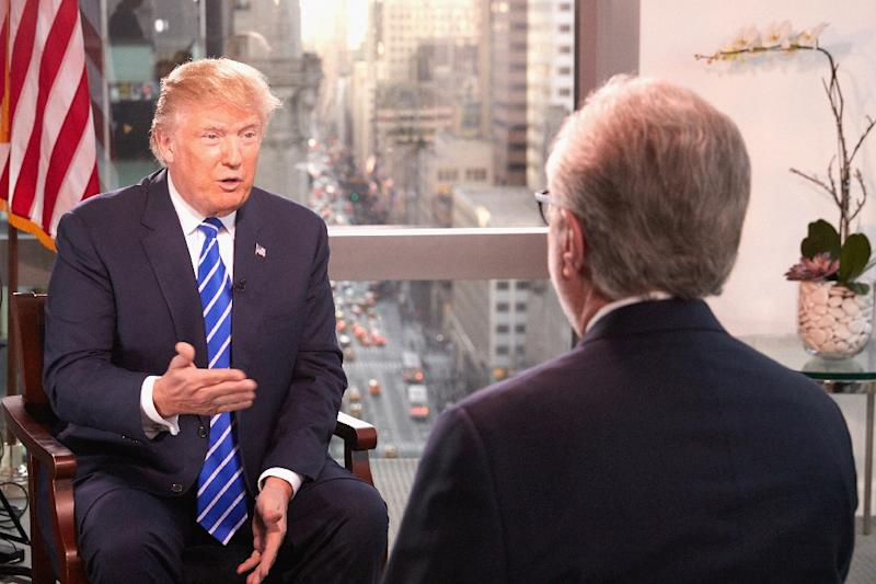 US President Donald Trump being interviewed in January by CNN journalist Wolf Blitzer