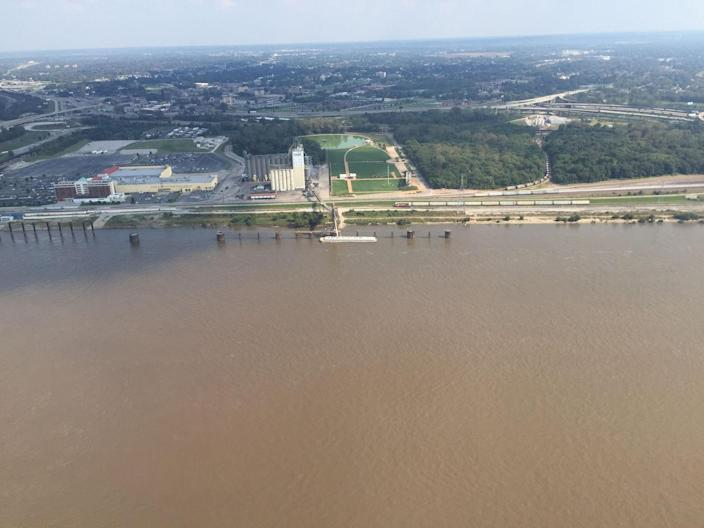The Mississippi River viewed from the top of the Gateway Arch in St. Louis. <cite>Tims Sharp</cite>
