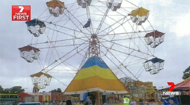 Three passengers fell from this Ferris wheel in Liverpool, NSW. Photo: 7 News