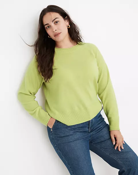 """<br><br><strong>Madewell</strong> (Re)sponsible Cashmere Roll-Trim Pullover Sweater, $, available at <a href=""""https://go.skimresources.com/?id=30283X879131&url=https%3A%2F%2Fwww.madewell.com%2F%2528re%2529sponsible-cashmere-roll-trim-pullover-sweater-MC178.html"""" rel=""""nofollow noopener"""" target=""""_blank"""" data-ylk=""""slk:Madewell"""" class=""""link rapid-noclick-resp"""">Madewell</a>"""
