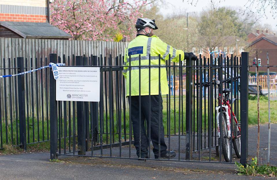Police are investigating the 'truly horrendous' gang rape of a woman at a park in south Manchester this morning [April 20].  Officers were called to the 'random and sickening attack' in Kirkup Gardens, Wythenshawe, just after 12.30am on Tuesday.  Caption: Police cordon at Kirkup Gardens in Wythenshawe, south Manchester, where a woman was reportedly raped by a gang of men on 20 April 2021