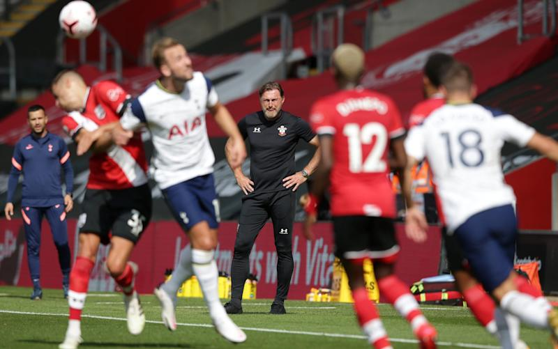 Ralph Hasenhuttl of Southampton during the Premier League match between Southampton and Tottenham Hotspur at St Mary's Stadium on September 20
