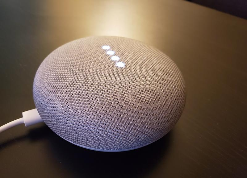 Google Home smart speakers, which respond to consumer's voice commands to control devices in the home or to answer questions out loud about topics including the weather, news or local services, in shown in San Francisco, California, U.S., March 28, 2019. Picture taken March 28, 2019. REUTERS/Dave Paresh