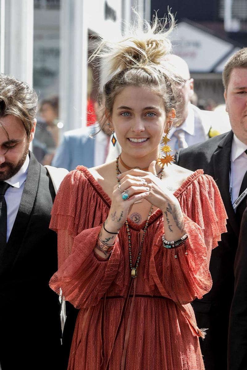Paris Jackson, pictured here at the Melbourne Cup on Tuesday, has caused controversy over an image she shared with a dingo whilst on Hamilton Island. Source: Getty