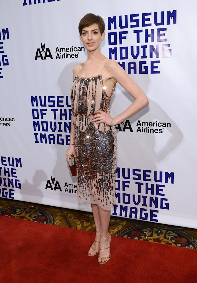 NEW YORK, NY - DECEMBER 11:  Actress Anne Hathaway attends the Museum of Moving Images salute to Hugh Jackman at Cipriani Wall Street on December 11, 2012 in New York City.  (Photo by Larry Busacca/Getty Images)