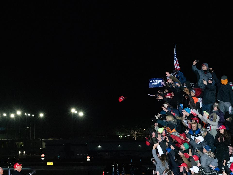 """President Donald Trump's last rally before the 2020 election in Grand Rapids, Mich., on Nov. 3<span class=""""copyright"""">Peter van Agtmael—Magnum Photos for TIME</span>"""