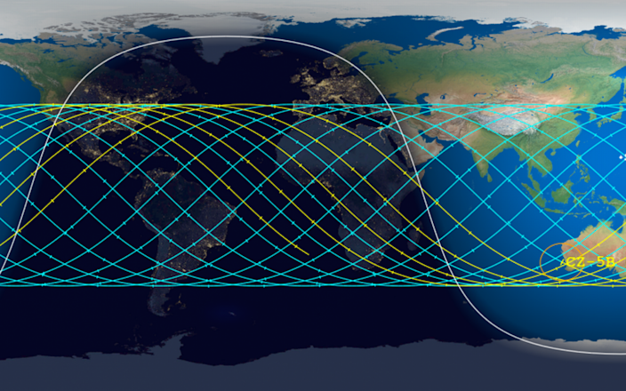 The reentry prediction for the Long March 5B rocket body from the Center for Orbital and Reentry Debris Studies. Note: The ground traces shown in the above image extend the full uncertainty window.