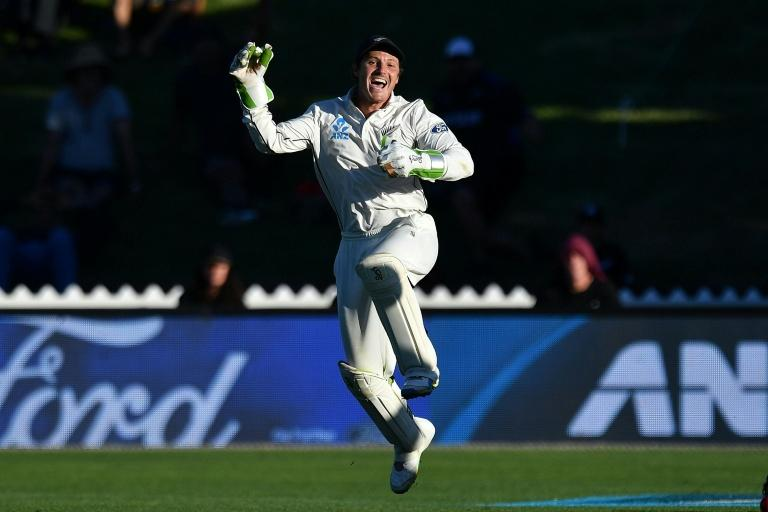 New Zealand's BJ Watling celebrates catching South Africa's Dean Elgar for nine in the second Test at Wellington