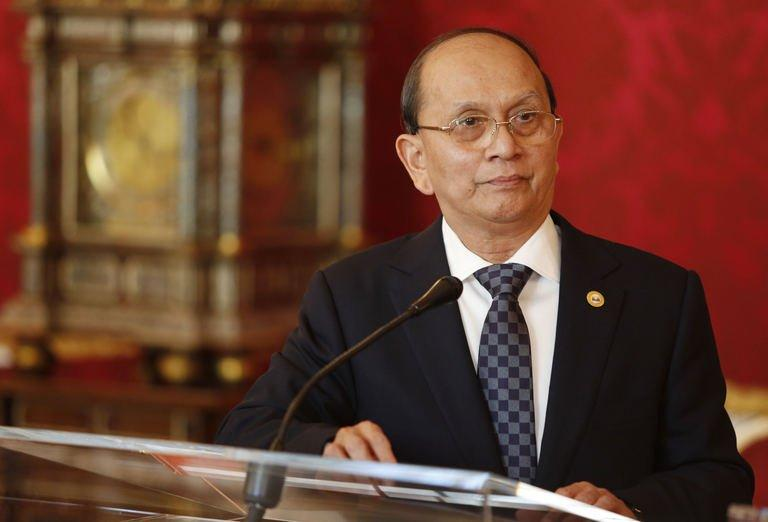 The President of Myanmar Thein Sein speaks to the press on March 4, 2013 in Vienna