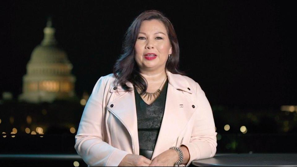 Mandatory Credit: Photo by Shutterstock (10750769aa)In this image from the Democratic National Convention video feed, United States Senator Tammy Duckworth (Democrat of Illinois) makes remarks on the last night of the convention.