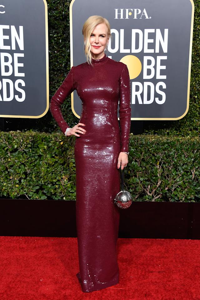 <p>Kidman glittered in a custom look by Michael Kors. Image via Getty Images. </p>