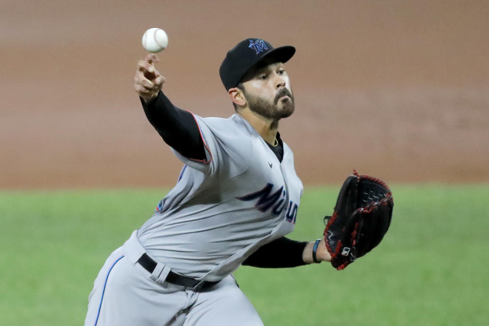Miami Marlins starting pitcher Pablo Lopez throws a pitch to the Baltimore Orioles during the second inning of a baseball game, Tuesday, Aug. 4, 2020, in Baltimore. (AP Photo/Julio Cortez)
