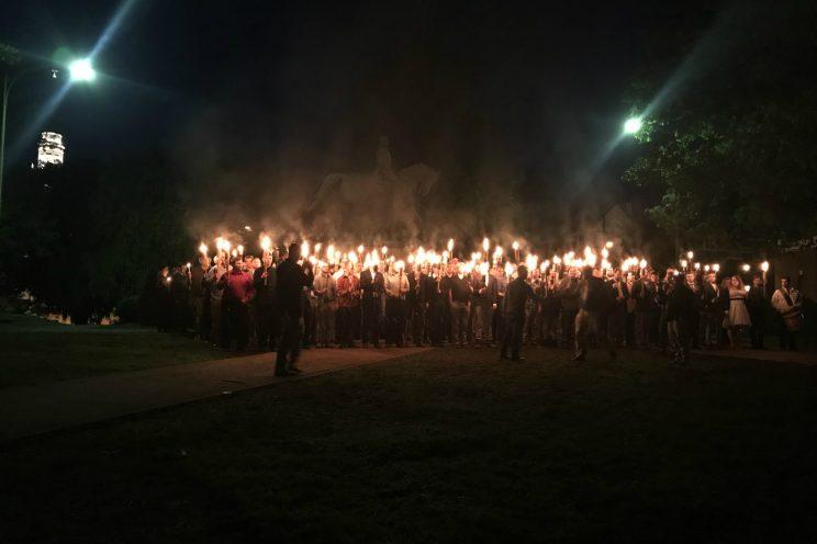 Torch-bearing protesters gather at Lee Park in Charlottesville, Va., on Saturday. (Allison Wrabel/The Daily Progress via ABC News)