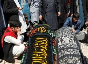 Mass funeral ceremony after yesterday's explosion in Kabul